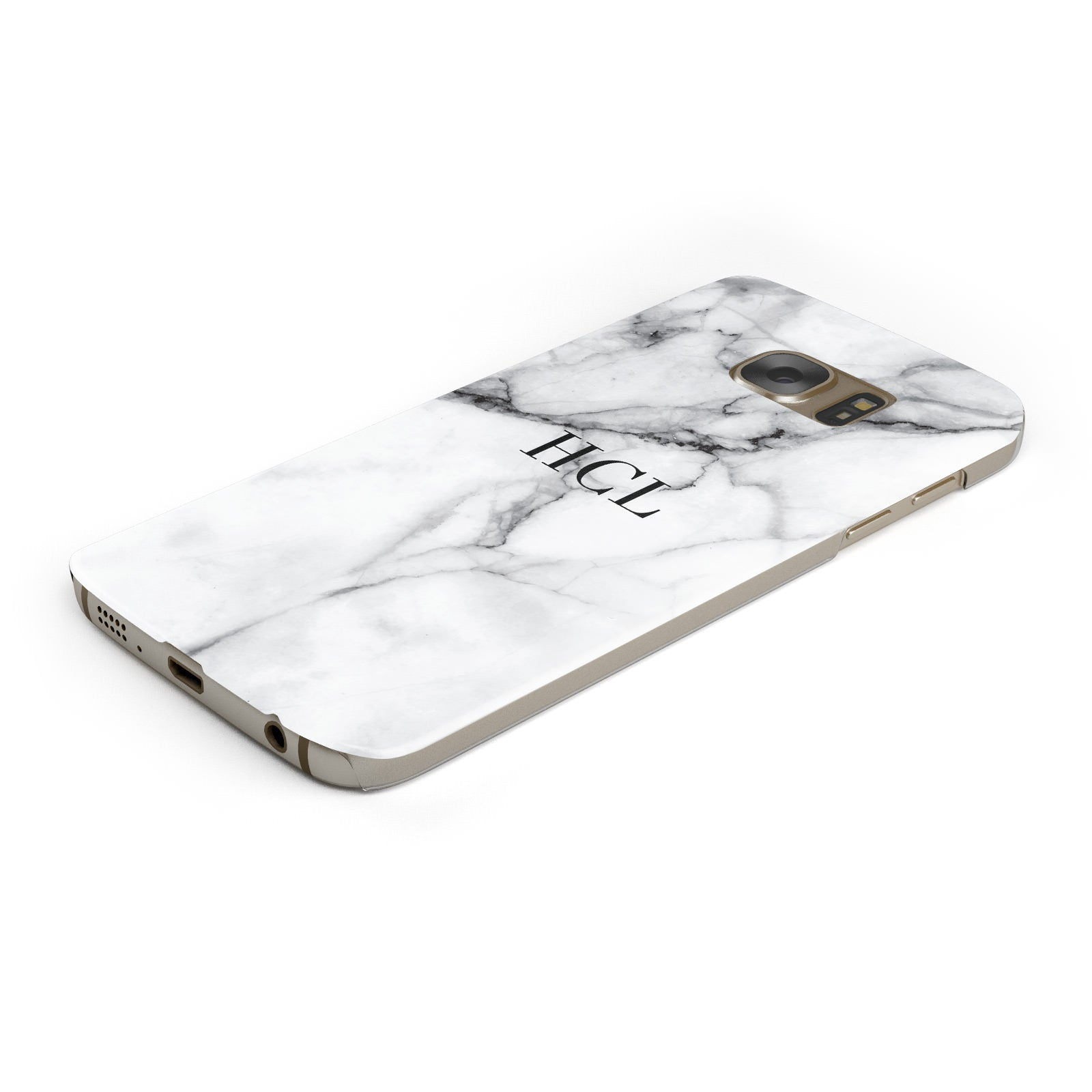 Personalised Small Marble Initials Custom Samsung Galaxy Case Bottom Cutout