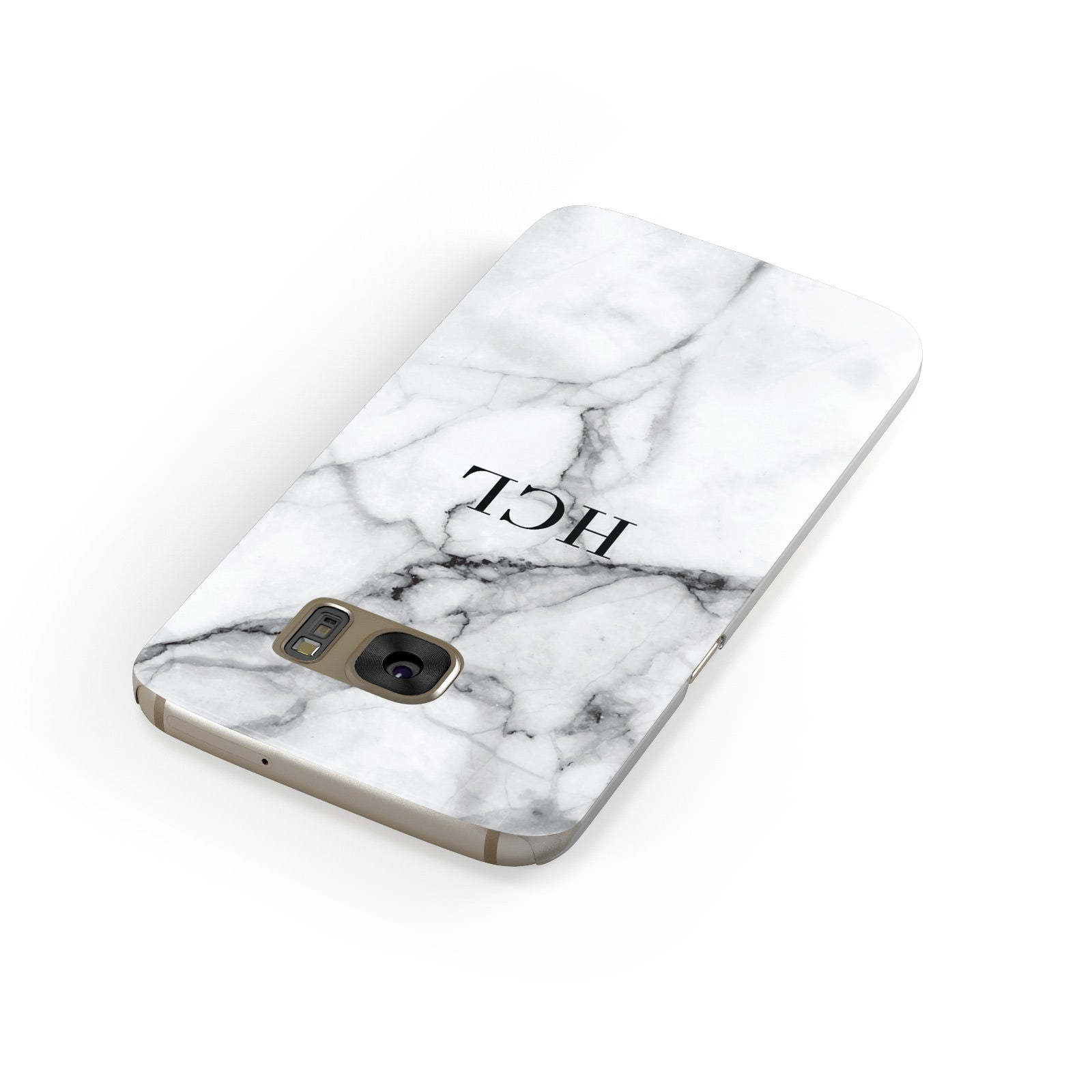 Personalised Small Marble Initials Custom Samsung Galaxy Case Front Close Up