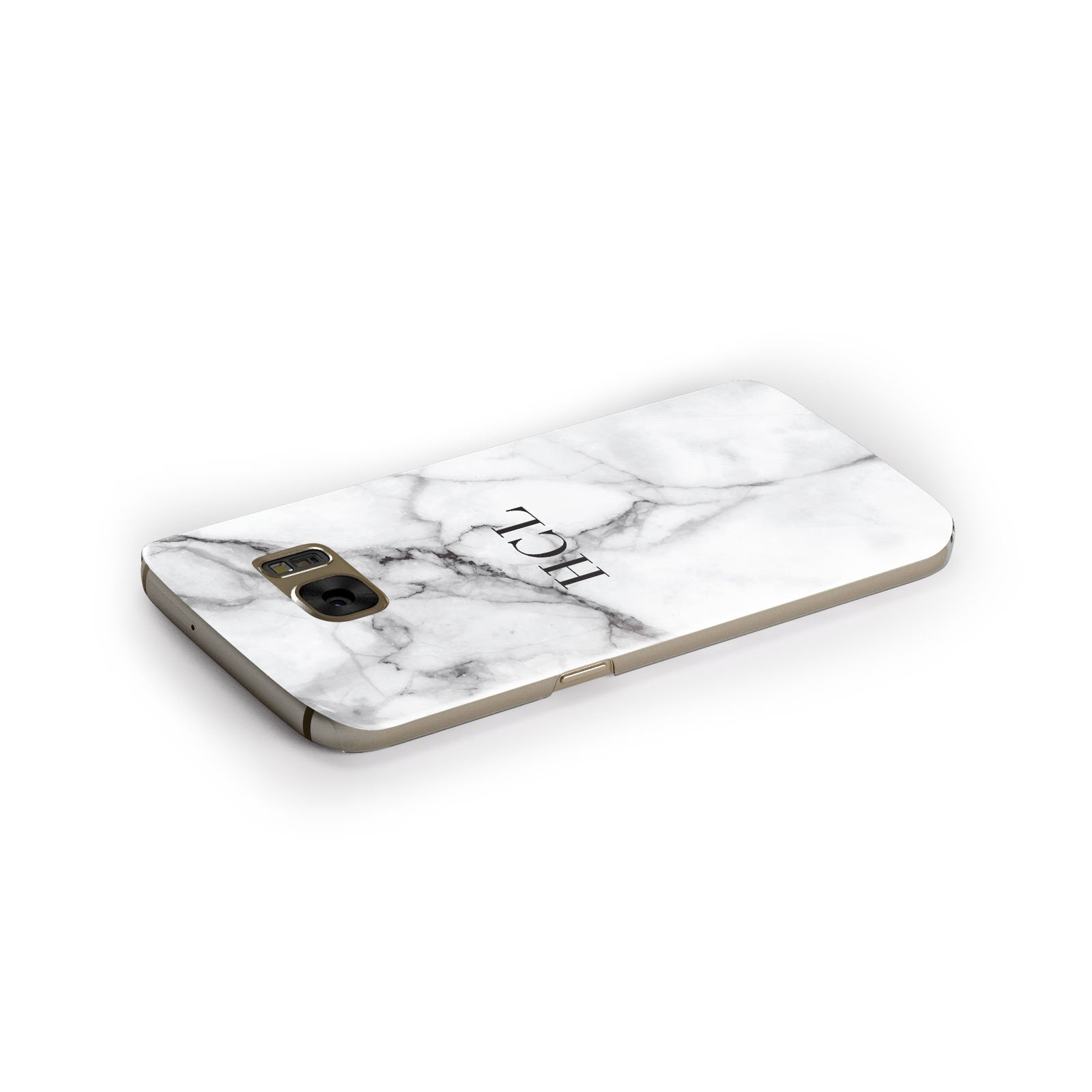 Personalised Small Marble Initials Custom Samsung Galaxy Case Side Close Up