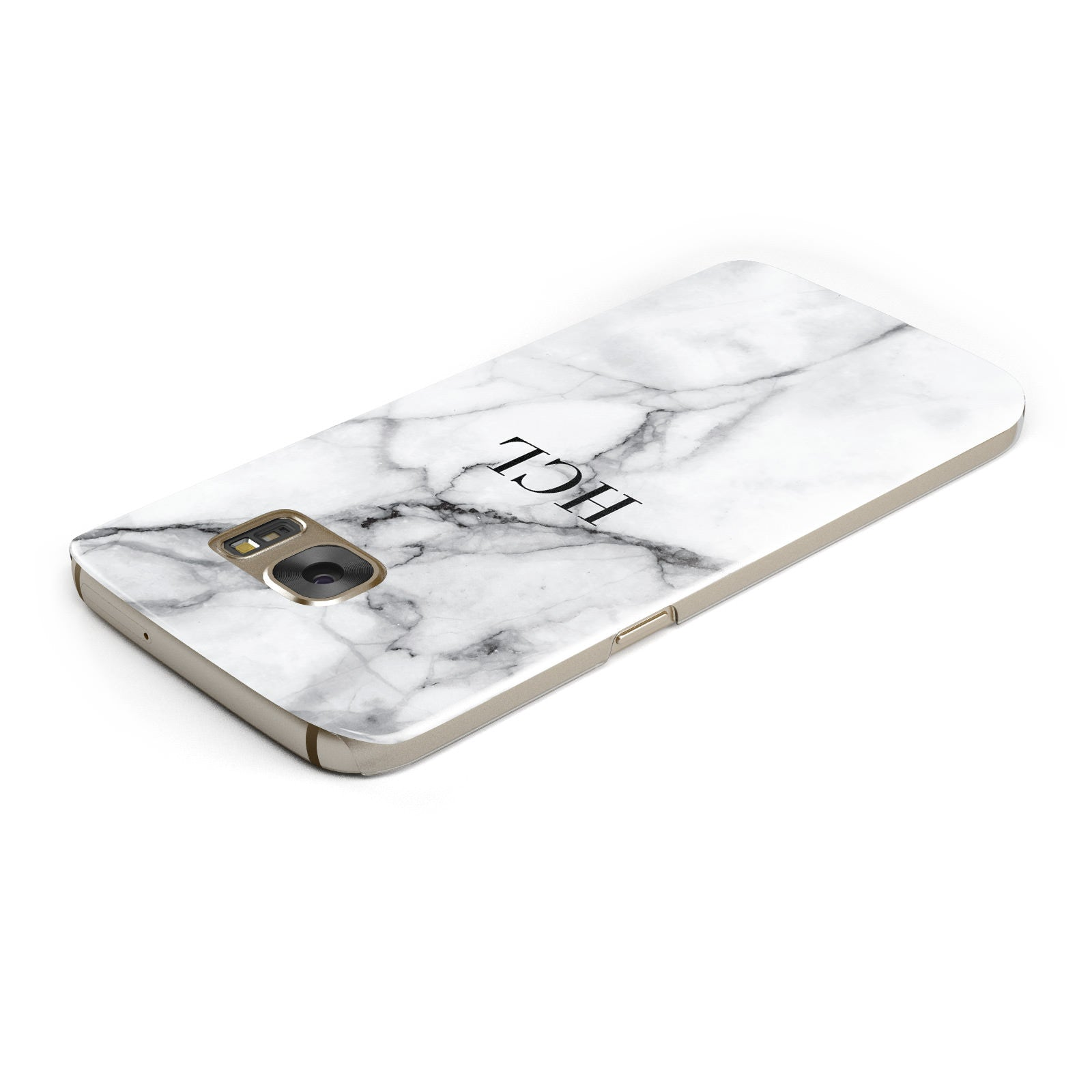 Personalised Small Marble Initials Custom Samsung Galaxy Case Top Cutout