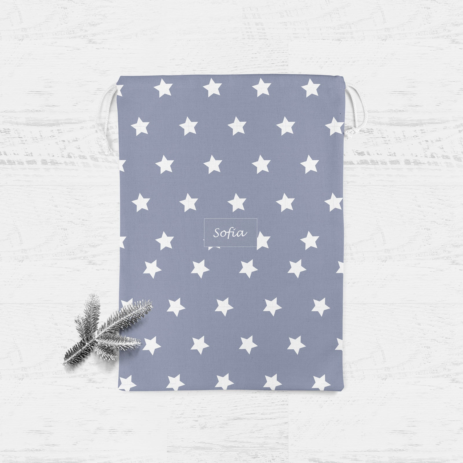 PERSONALISED GREY STAR CHRISTMAS SACK