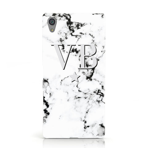 Personalised Star Marble Initialed Grey Sony Xperia Case