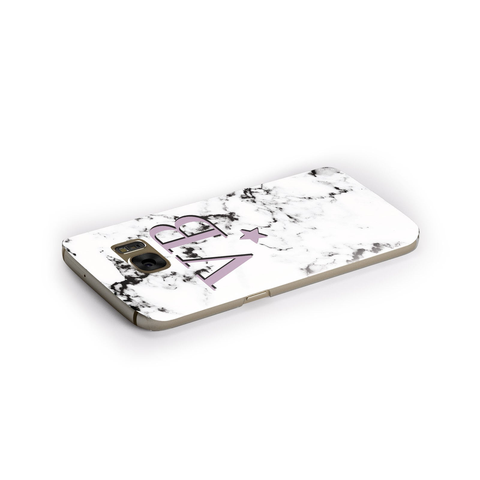 Personalised Star With Monogram Marble Samsung Galaxy Case Side Close Up