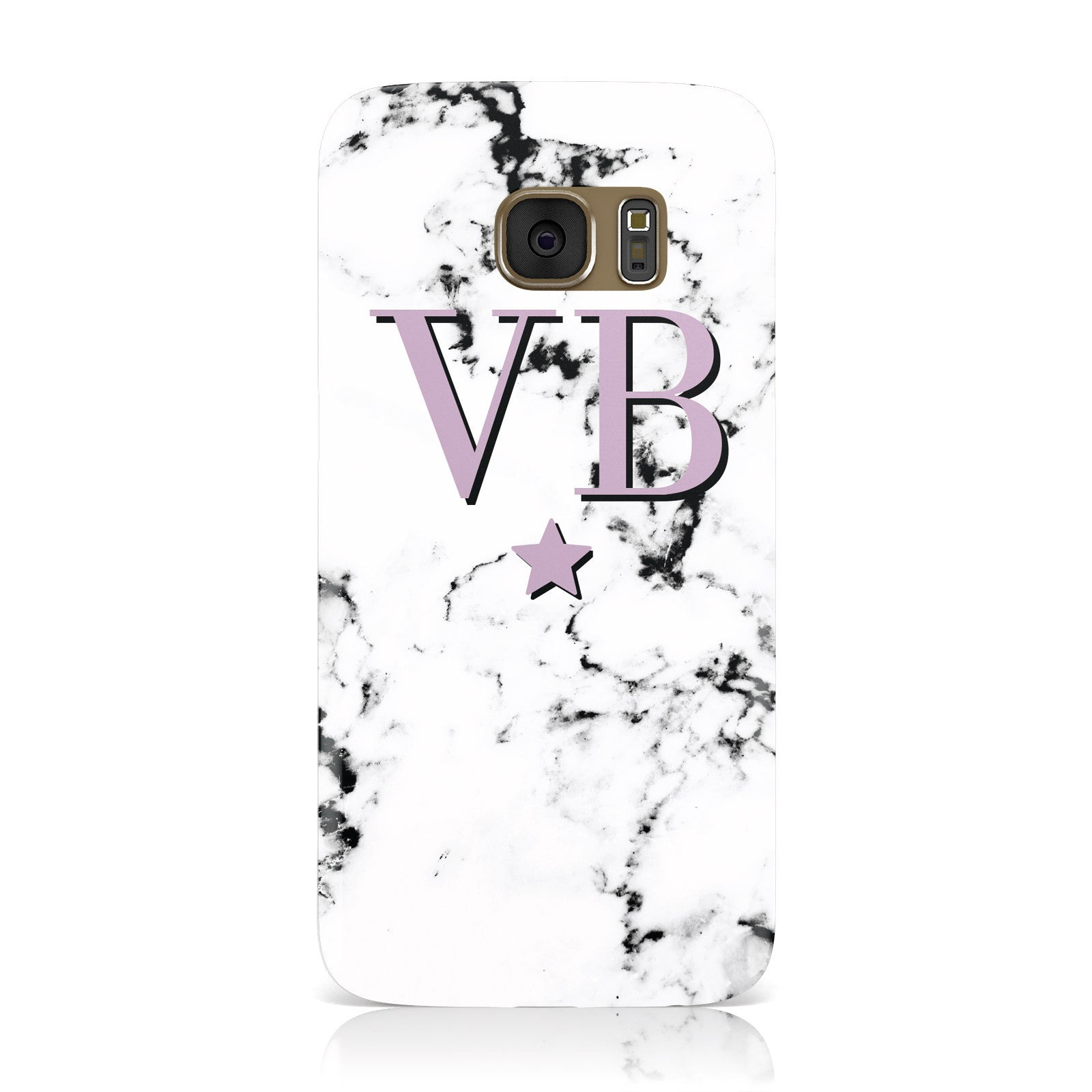 Personalised Star With Monogram Marble Samsung Galaxy Case