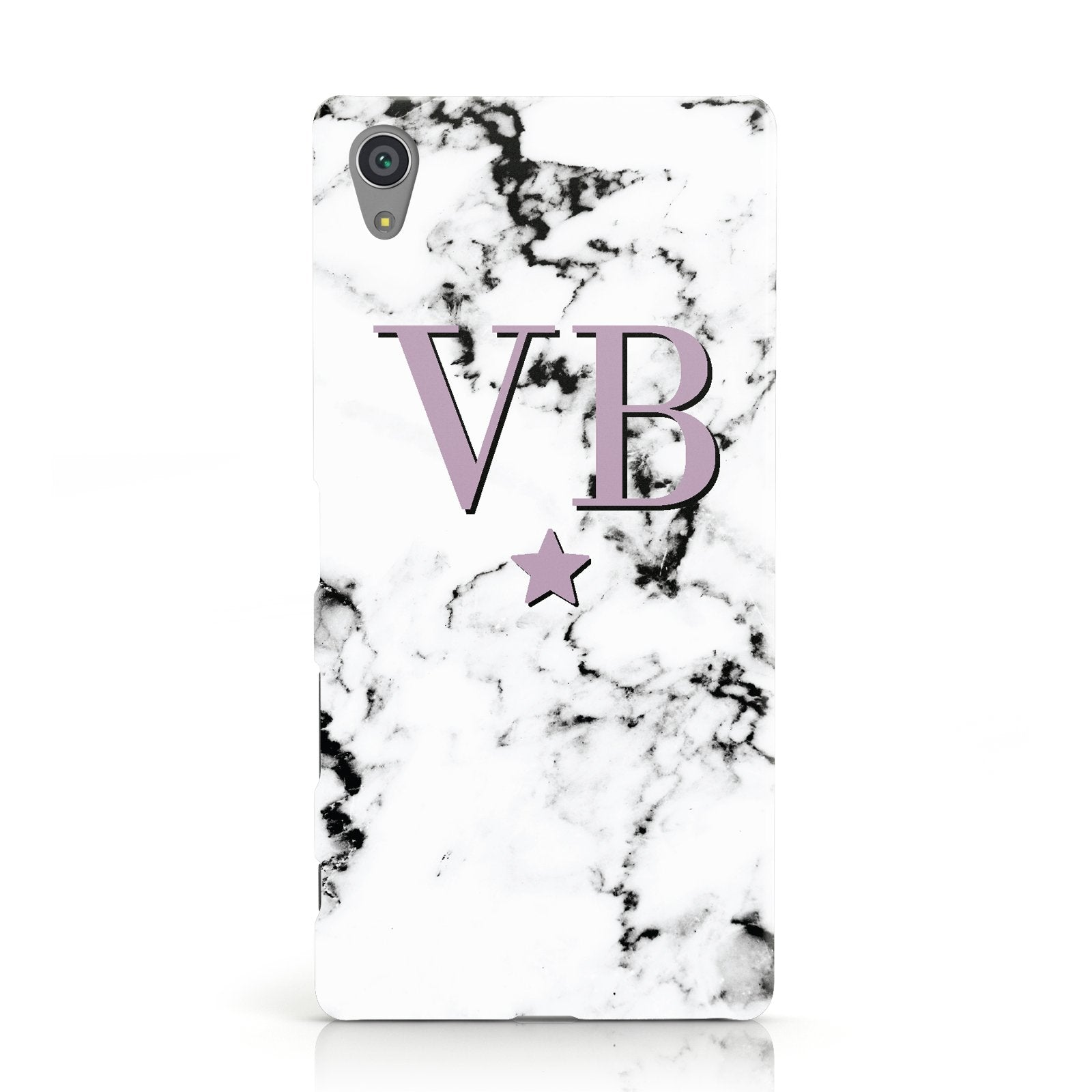 Personalised Star With Monogram Marble Sony Xperia Case