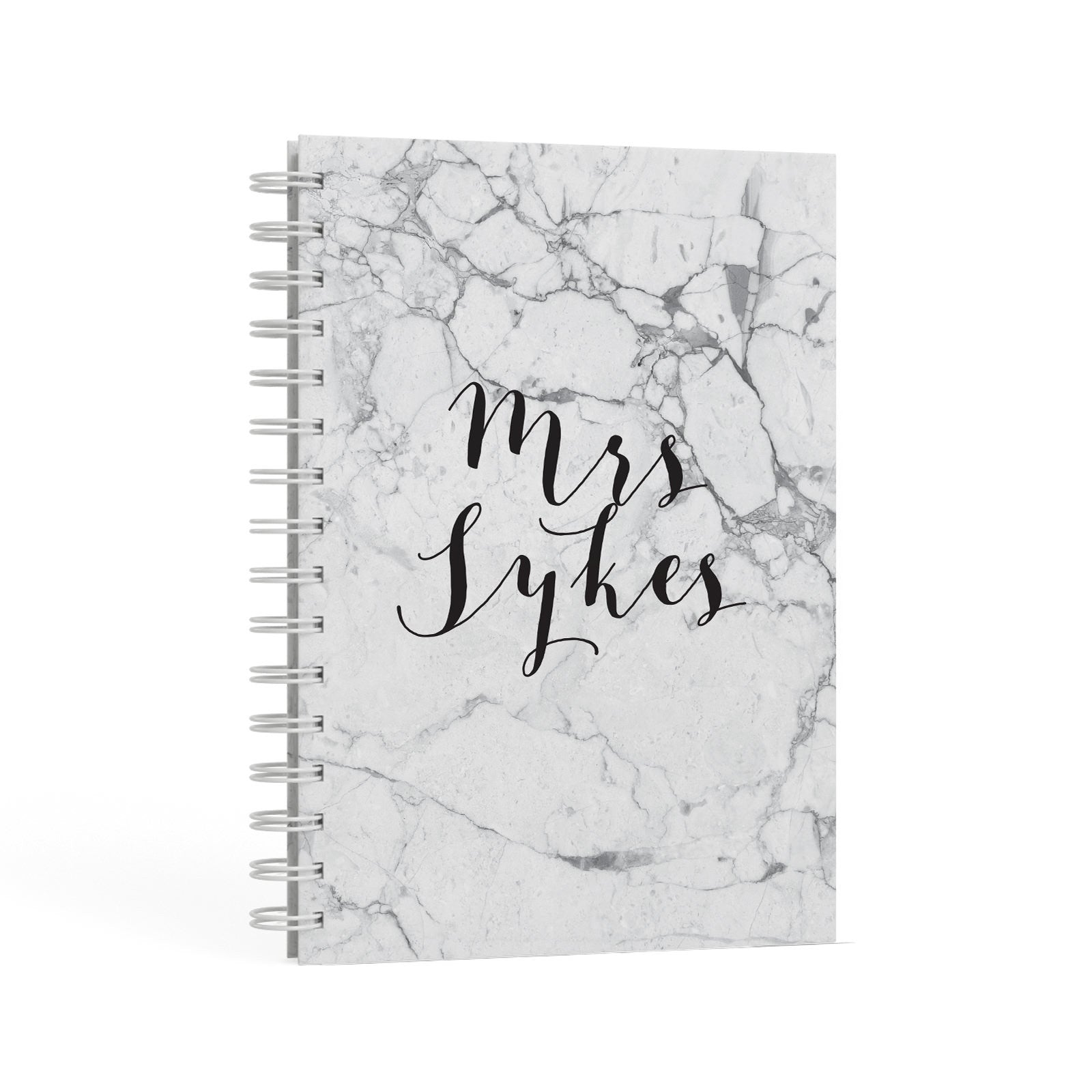 Surname Personalised Marble A5 Hardcover Notebook Second Side View