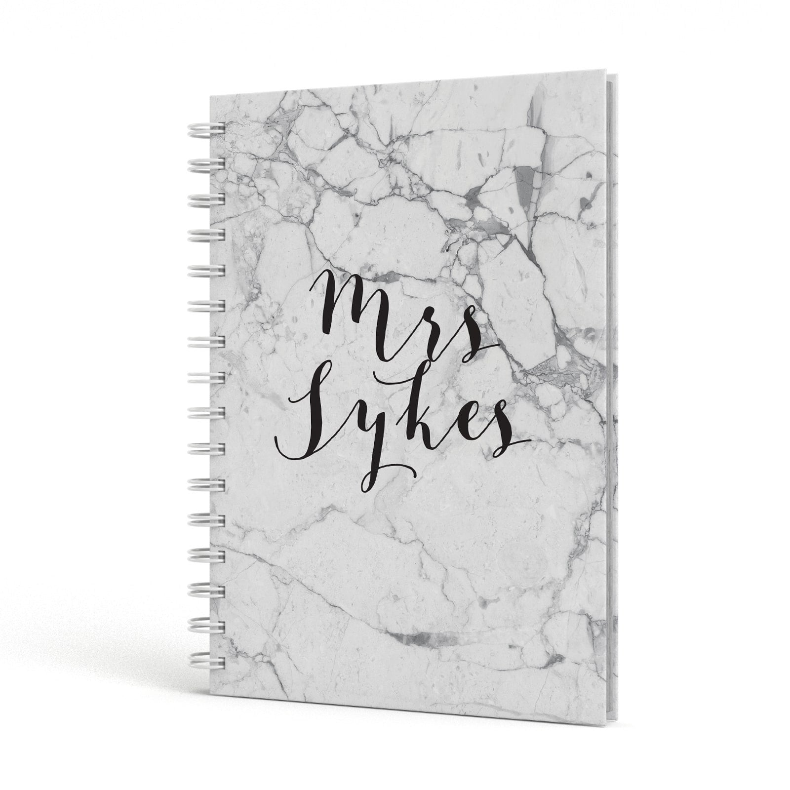 Surname Personalised Marble A5 Hardcover Notebook Side View