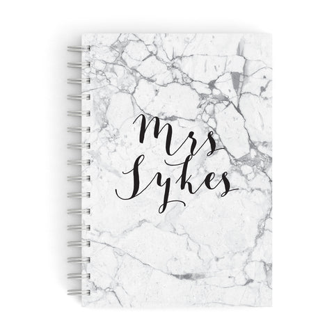 Surname Personalised Marble A5 Hardcover Notebook