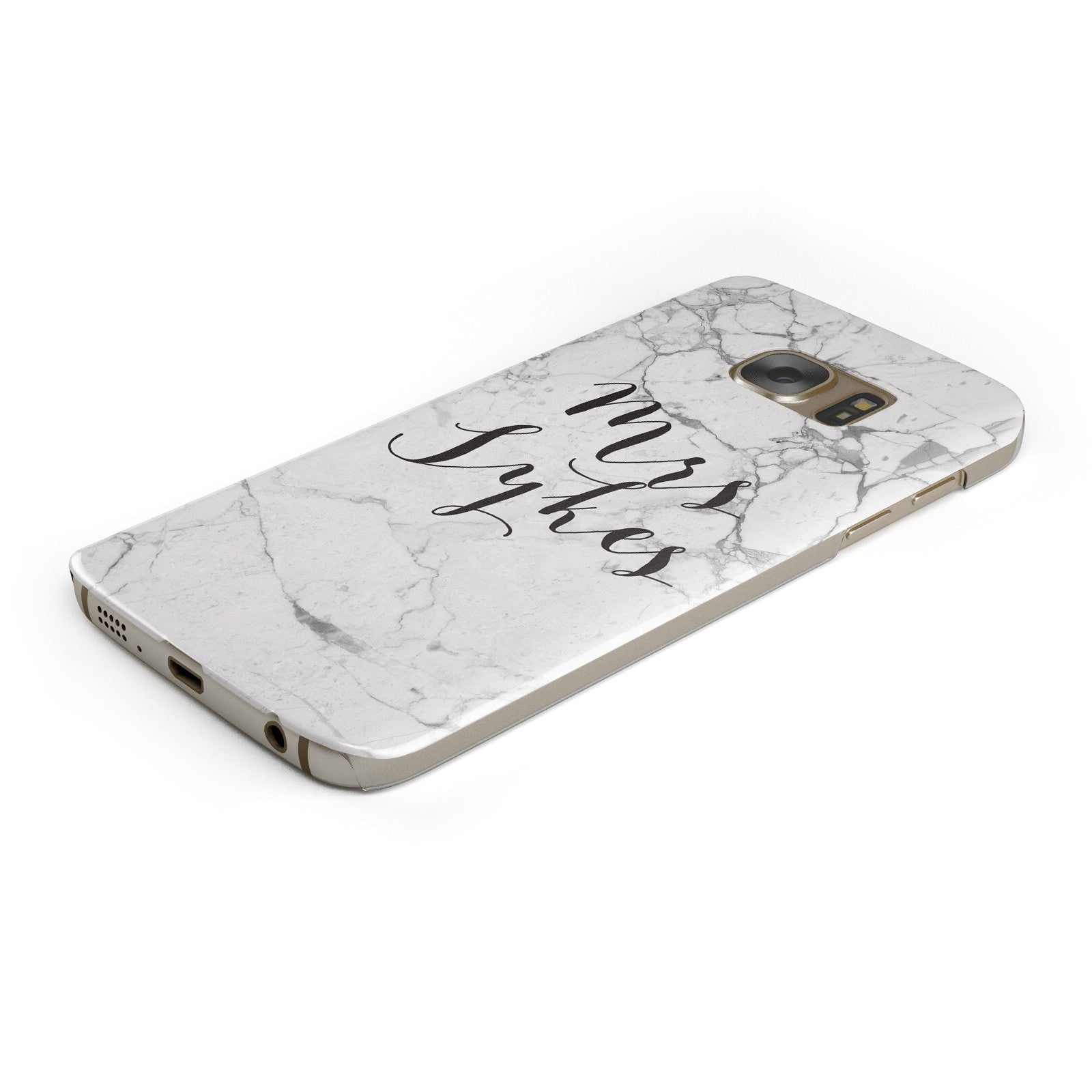 Surname Personalised Marble Samsung Galaxy Case Bottom Cutout