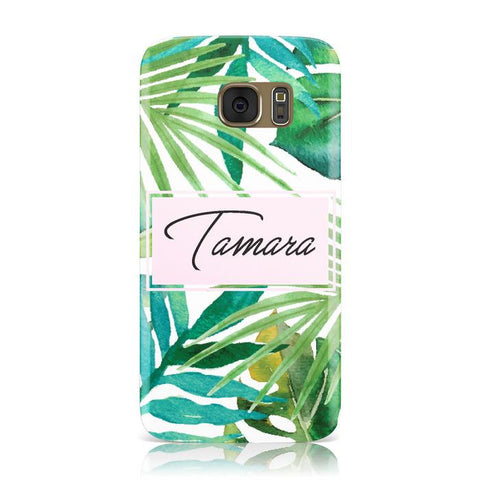Personalised Tropical Leaf Pink Name Samsung Galaxy Case
