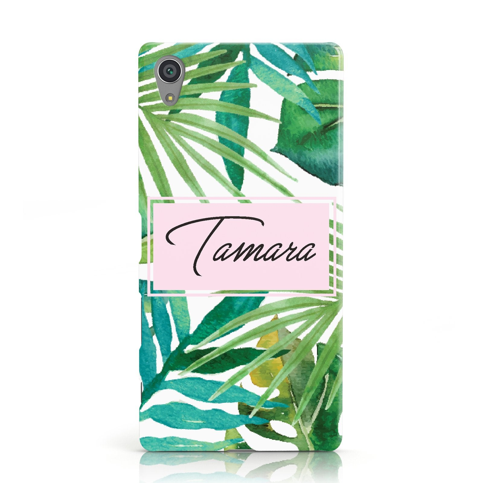 Personalised Tropical Leaf Pink Name Sony Xperia Case