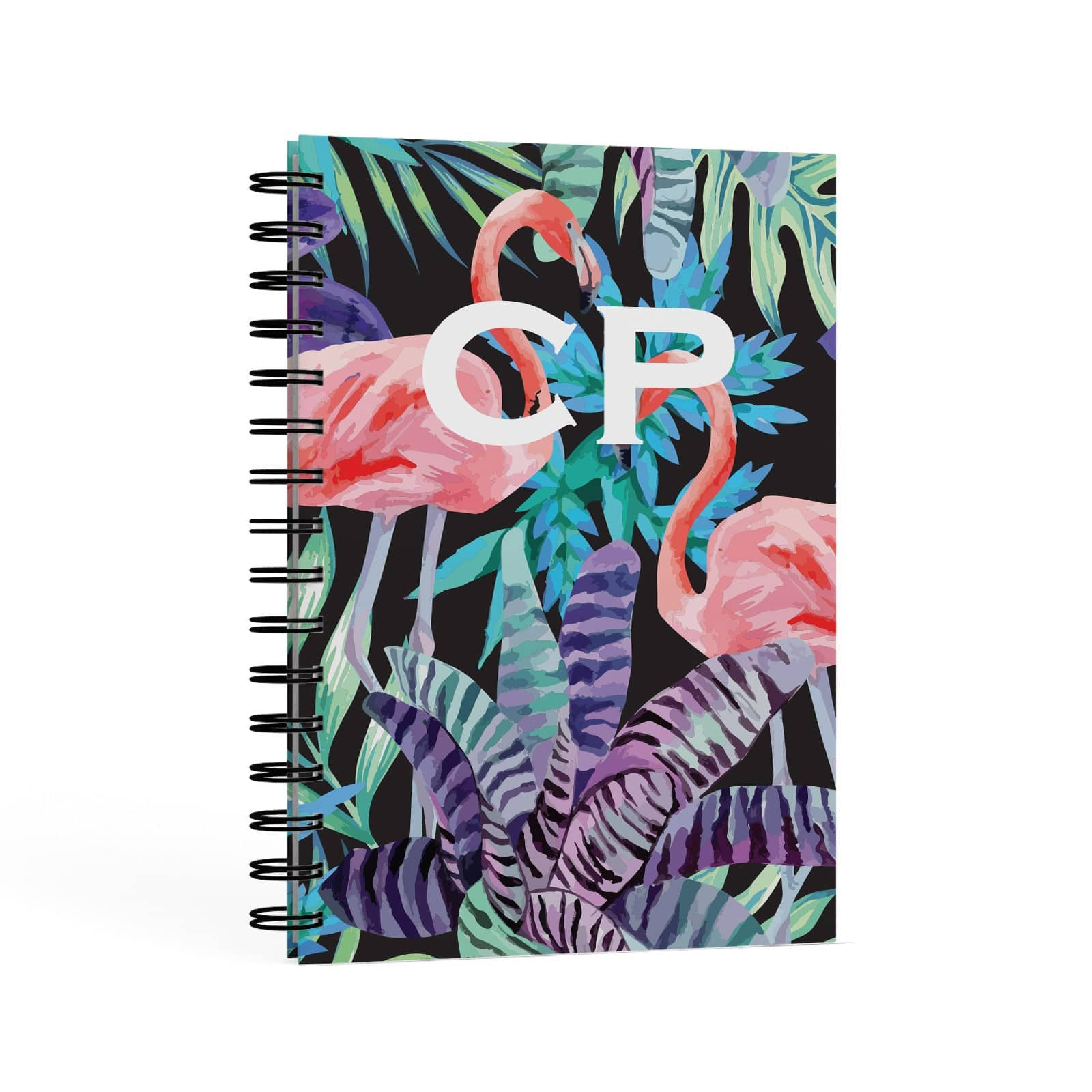 Tropical Leaves & Flamingos A5 Hardcover Notebook Second Side View
