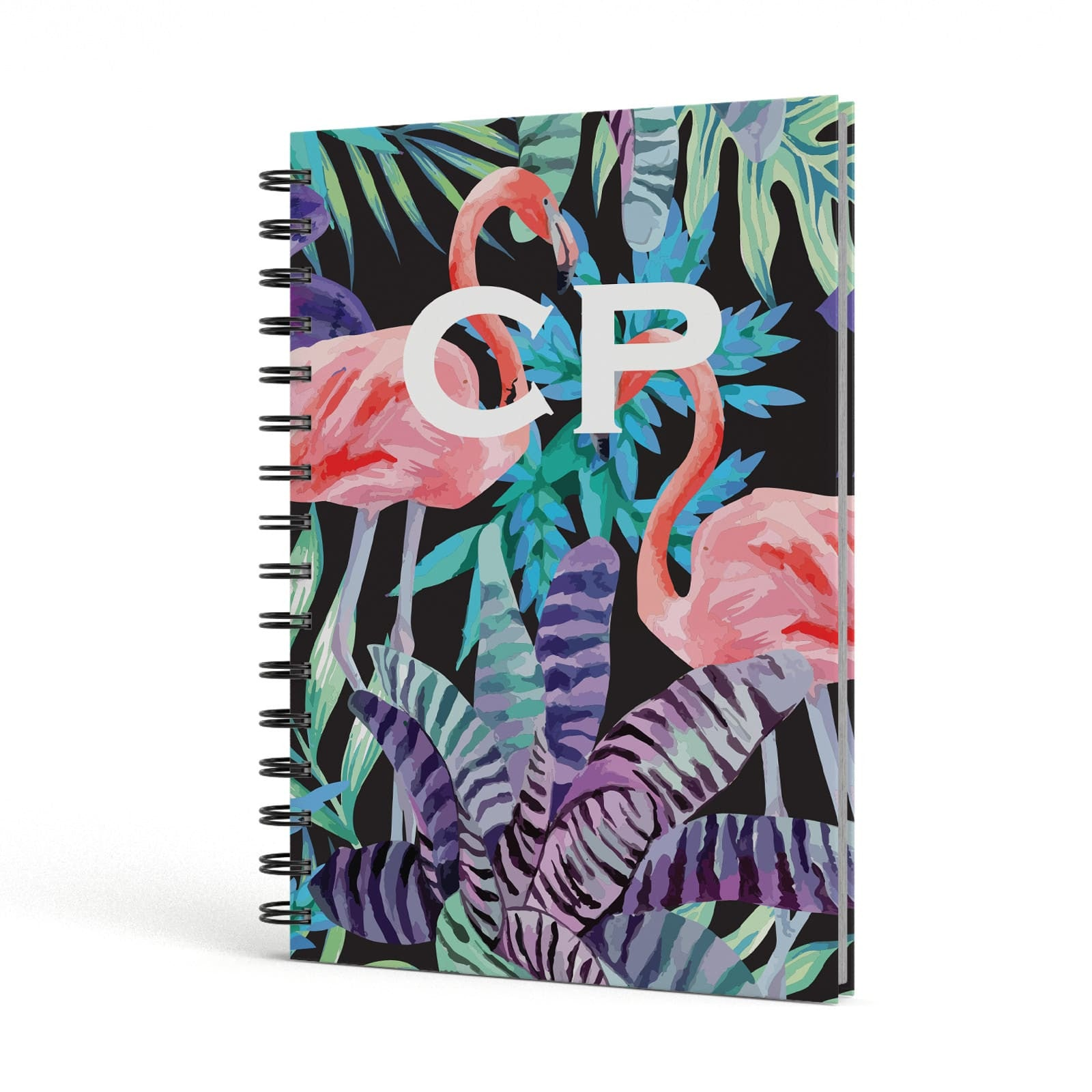 Tropical Leaves & Flamingos A5 Hardcover Notebook Side View