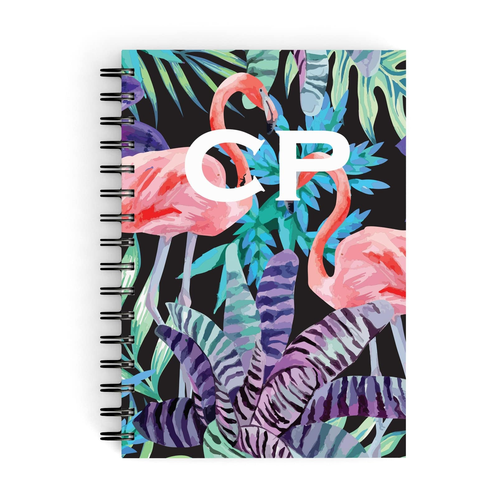 Tropical Leaves & Flamingos A5 Hardcover Notebook