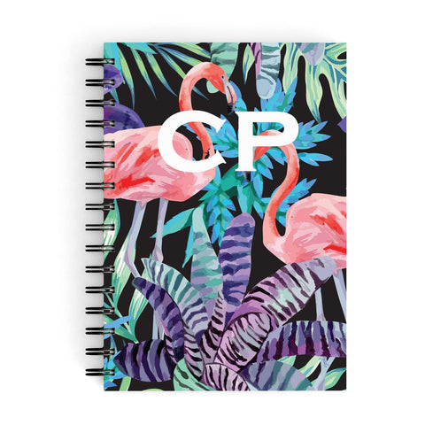 Personalised Tropical Leaves & Flamingos A5 Hardcover Notebook