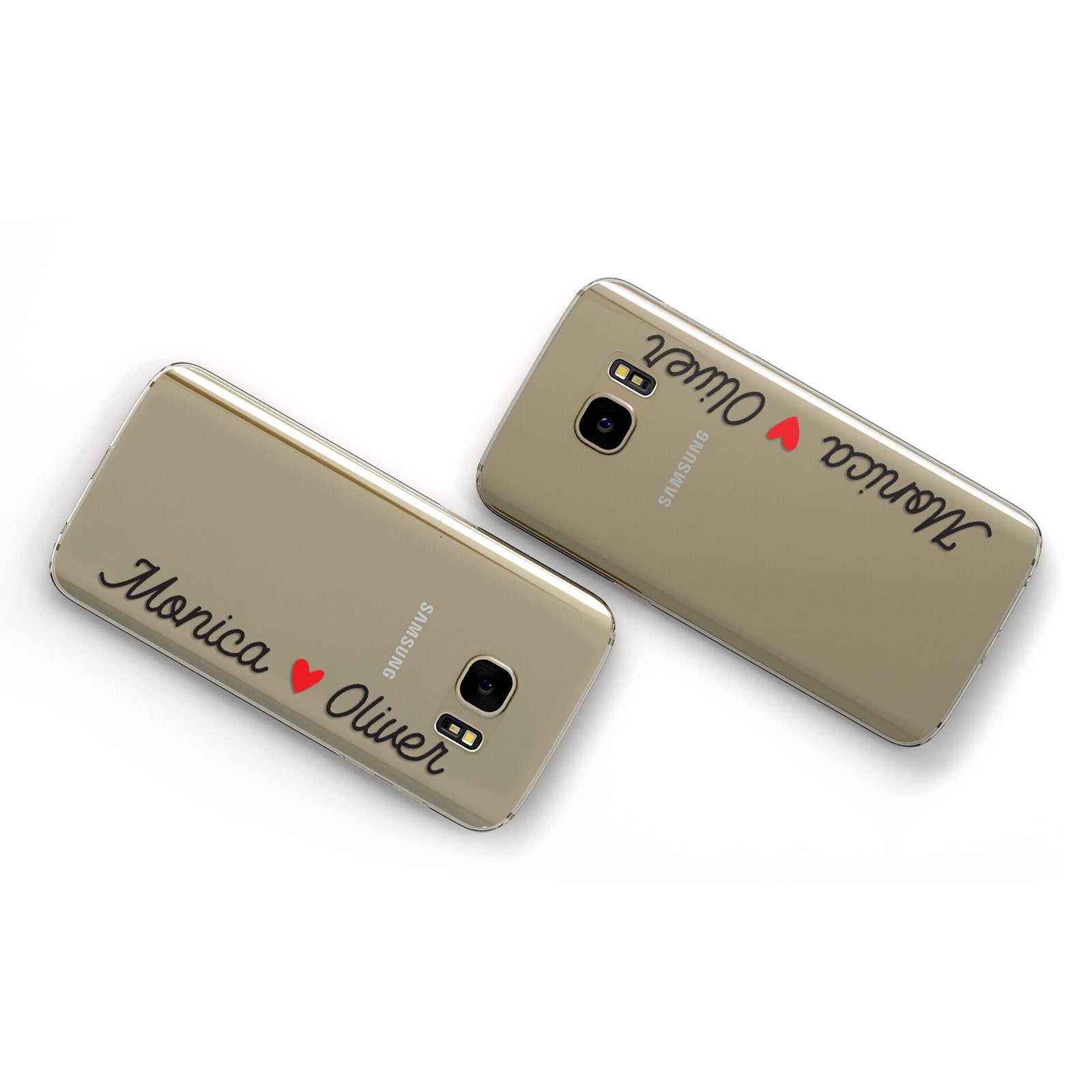 Personalised Two Names Couples Clear Custom Black Google Case Flat Overview