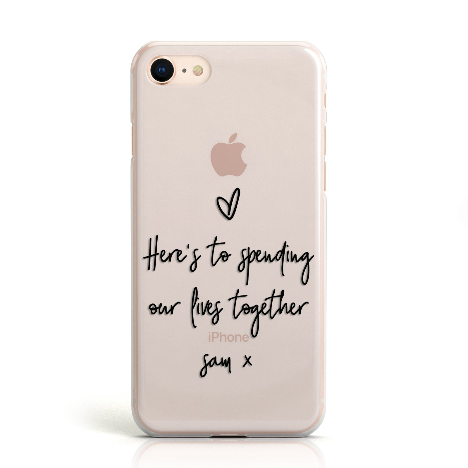 Personalised Valentines Message Name Black Apple iPhone Case