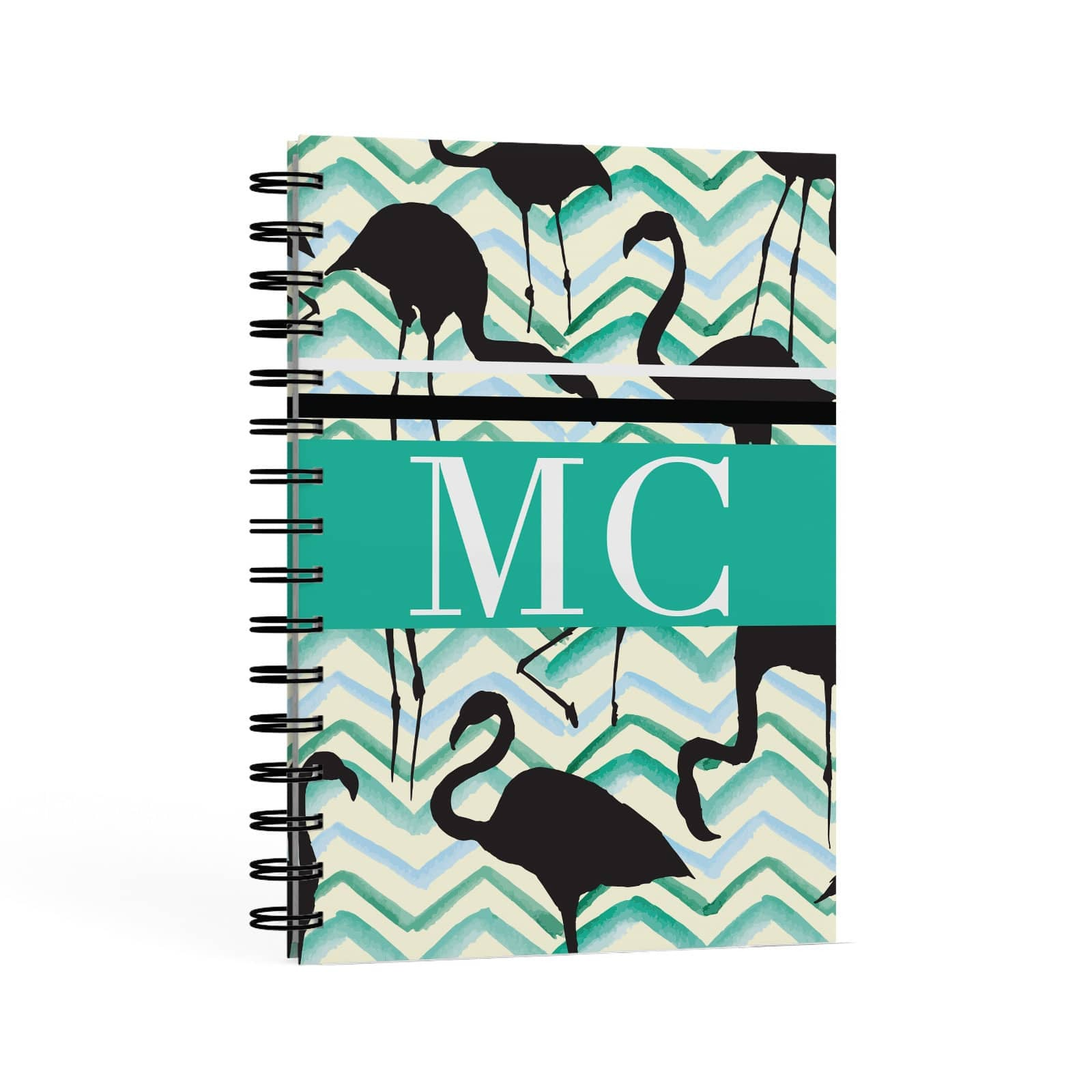 Watercolour Chevron Flamingo A5 Hardcover Notebook Second Side View