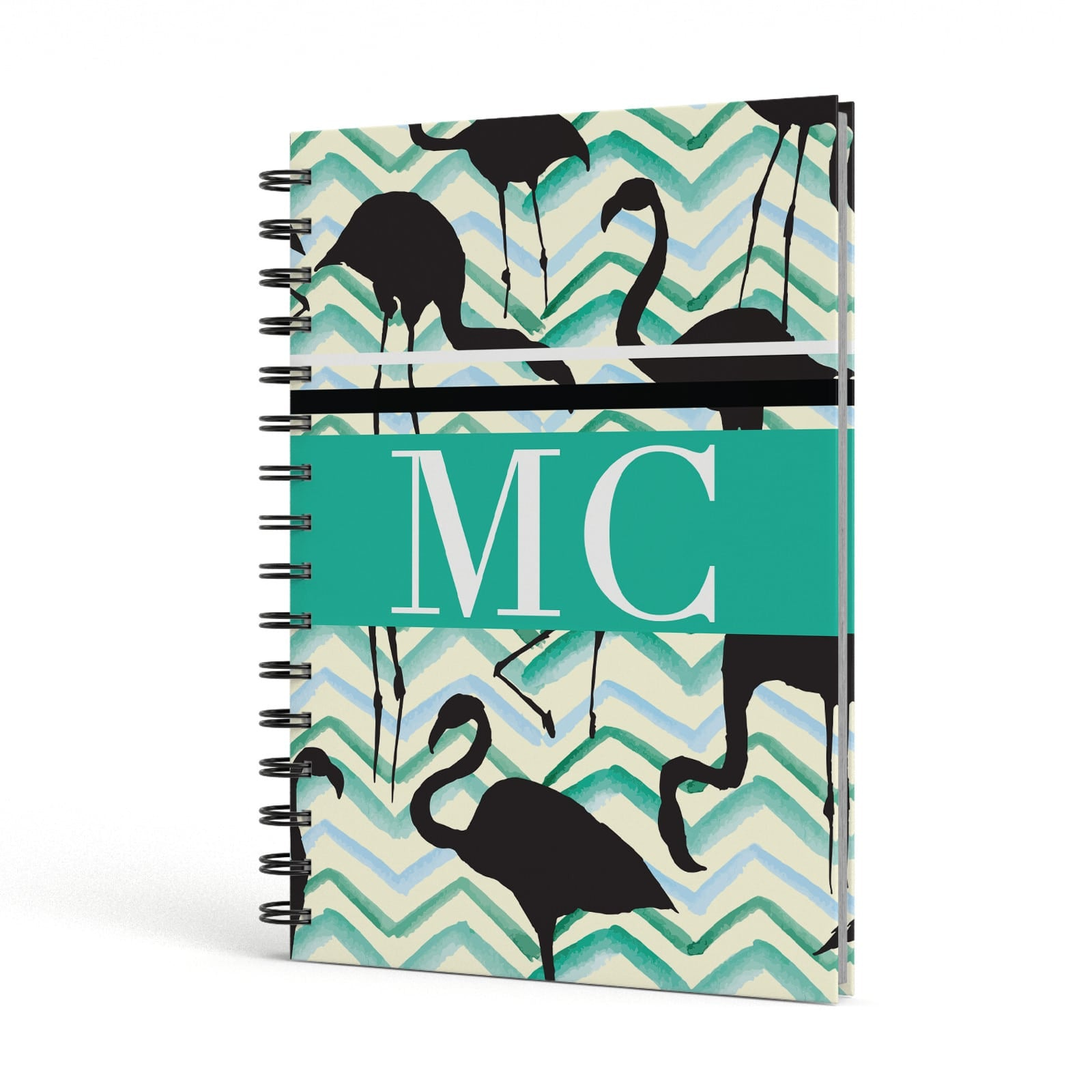 Watercolour Chevron Flamingo A5 Hardcover Notebook Side View