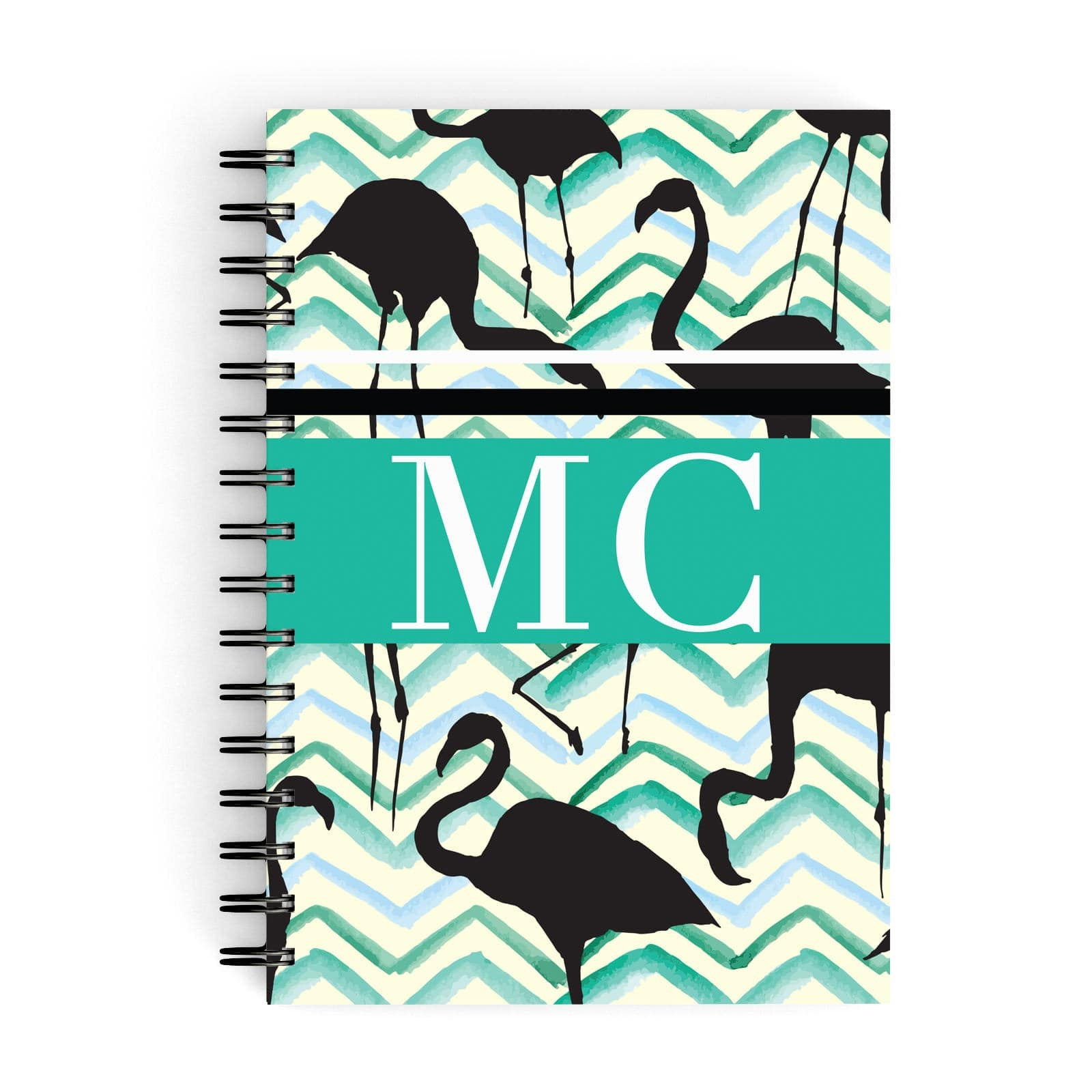 Watercolour Chevron Flamingo A5 Hardcover Notebook