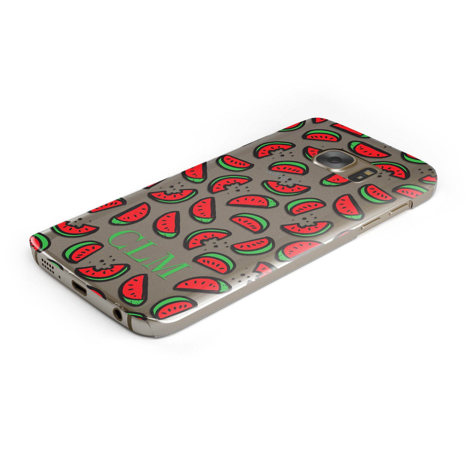 Personalised Watermelon Initials Samsung Galaxy Case Bottom Cutout