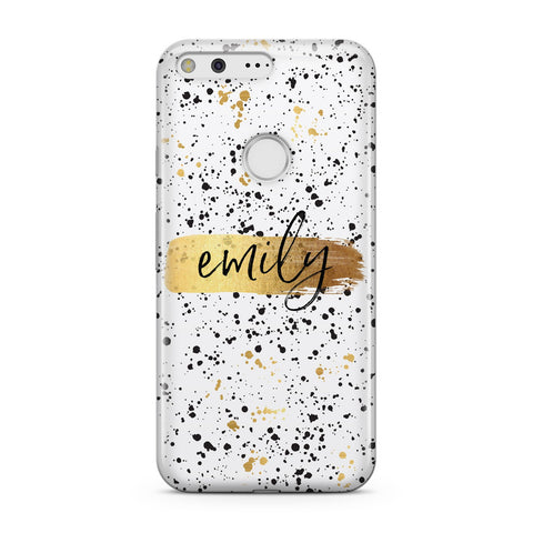 Personalised White & Gold Ink Splat Name Google Case