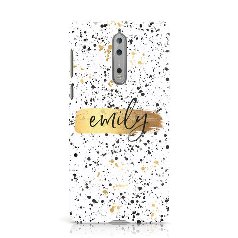 Personalised White & Gold Ink Splat Name Nokia Case
