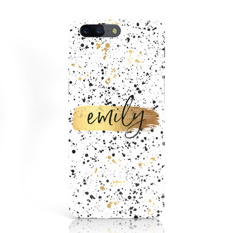 Personalised White & Gold Ink Splat Name Oneplus Case