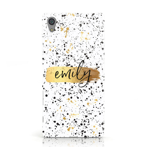 Personalised White & Gold Ink Splat Name Sony Xperia Case