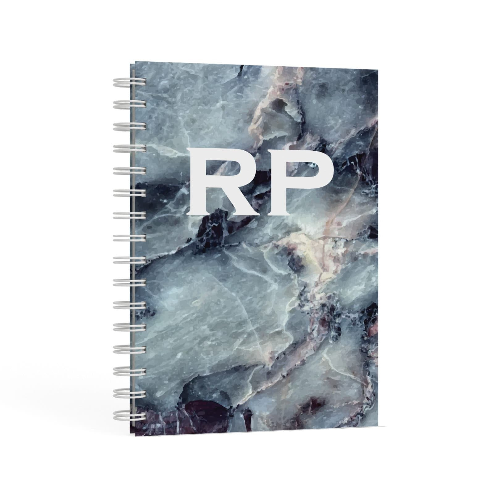 White Initials Blue Marble A5 Hardcover Notebook Second Side View
