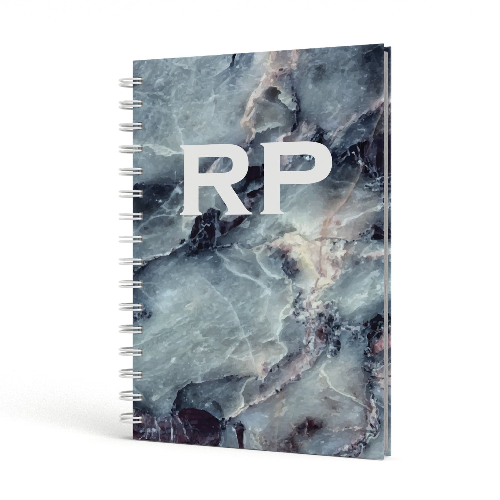 White Initials Blue Marble A5 Hardcover Notebook Side View