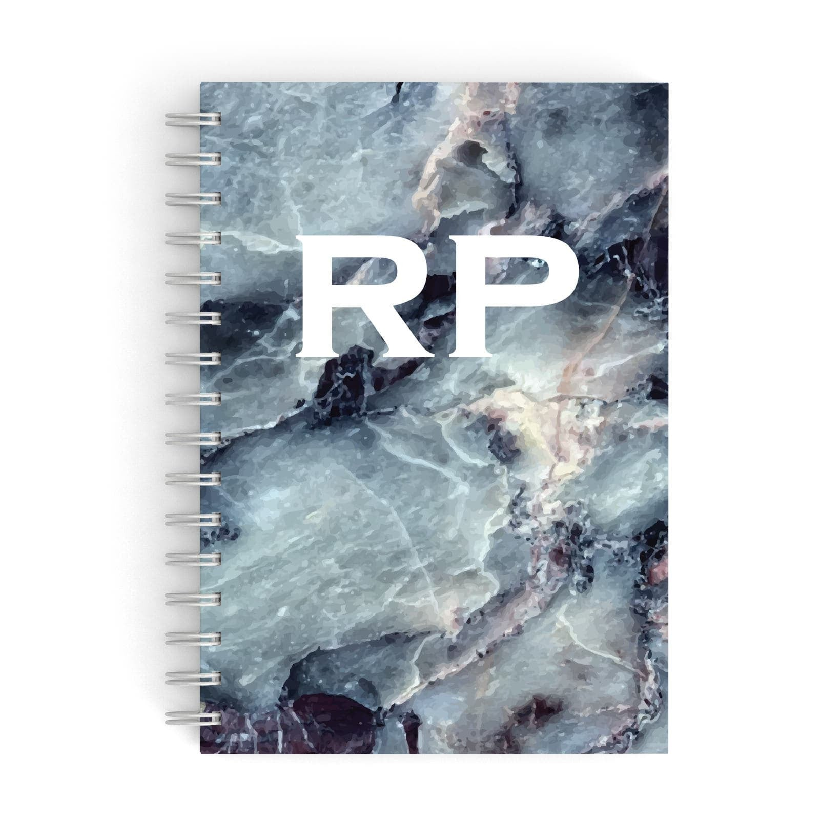 White Initials Blue Marble A5 Hardcover Notebook