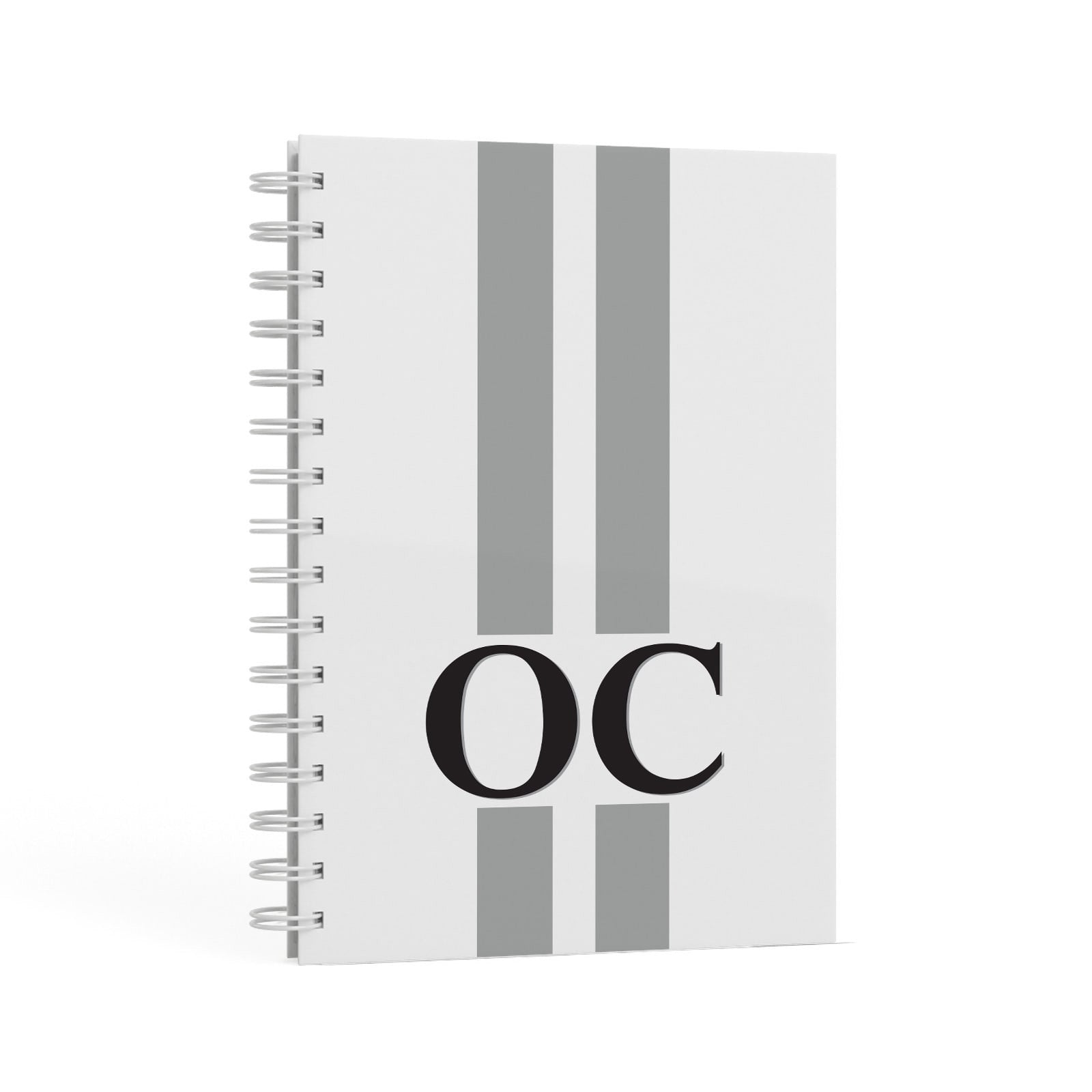 White Personalised Initials A5 Hardcover Notebook Second Side View