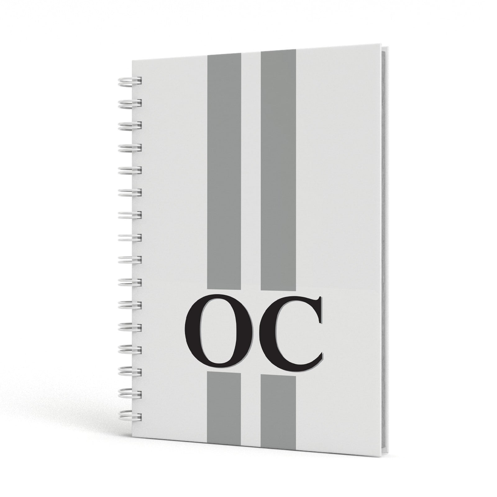White Personalised Initials A5 Hardcover Notebook Side View