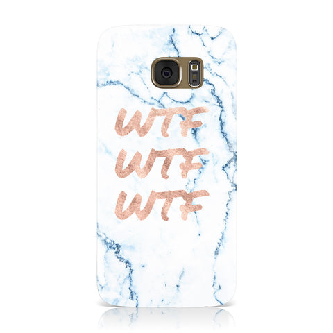 Wtf Rose Gold Blue Marble Effect Samsung Galaxy Case