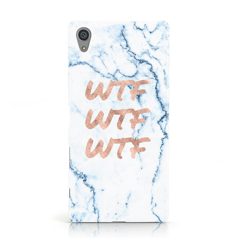 Wtf Rose Gold Blue Marble Effect Sony Xperia Case