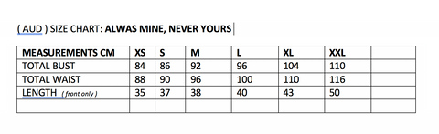 always mine never yours size chart