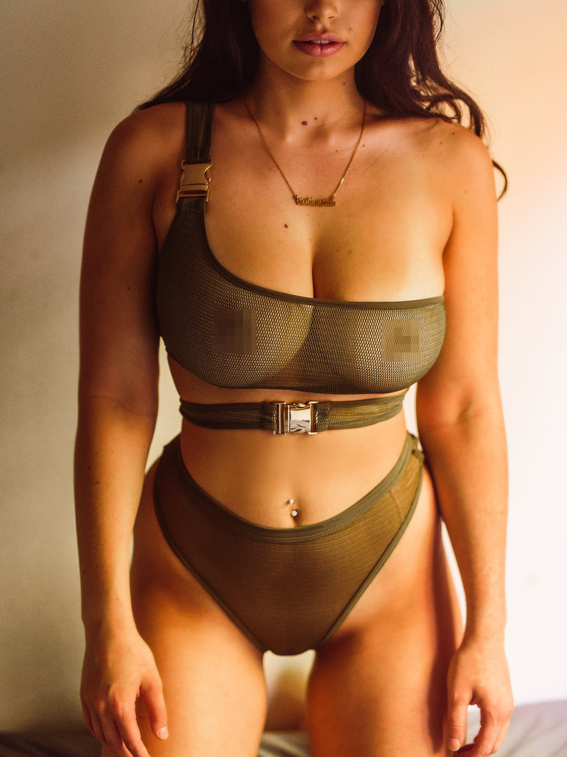 NO BRA CLUB MESH SET. KHAKI - NO BRA CLUB