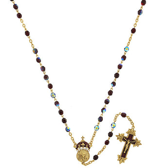 14K Gold-Tone Garnet Color AB Bead and Enamel King of Kings Rosary