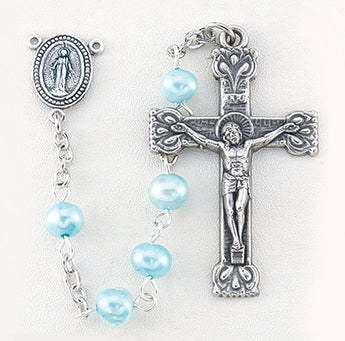 4MM Fresh Water Light Blue Pearl Bead Rosary (Full Rosary 9 Units In Stock)