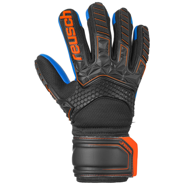 REUSCH JR ATTRAKT FREEGEL S1 FINGER SUPP BLACK/DEEP BLUE/ORA