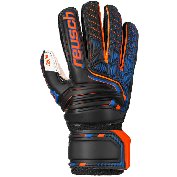 REUSCH JR ATTRAKT SG OPEN CUFF FINGER SUPP BLACK/SHOCK ORANG