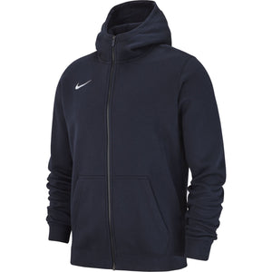 NIKE JR TEAM CLUB19 FULL-ZIP HOODIE OBSIDIAN/WHITE