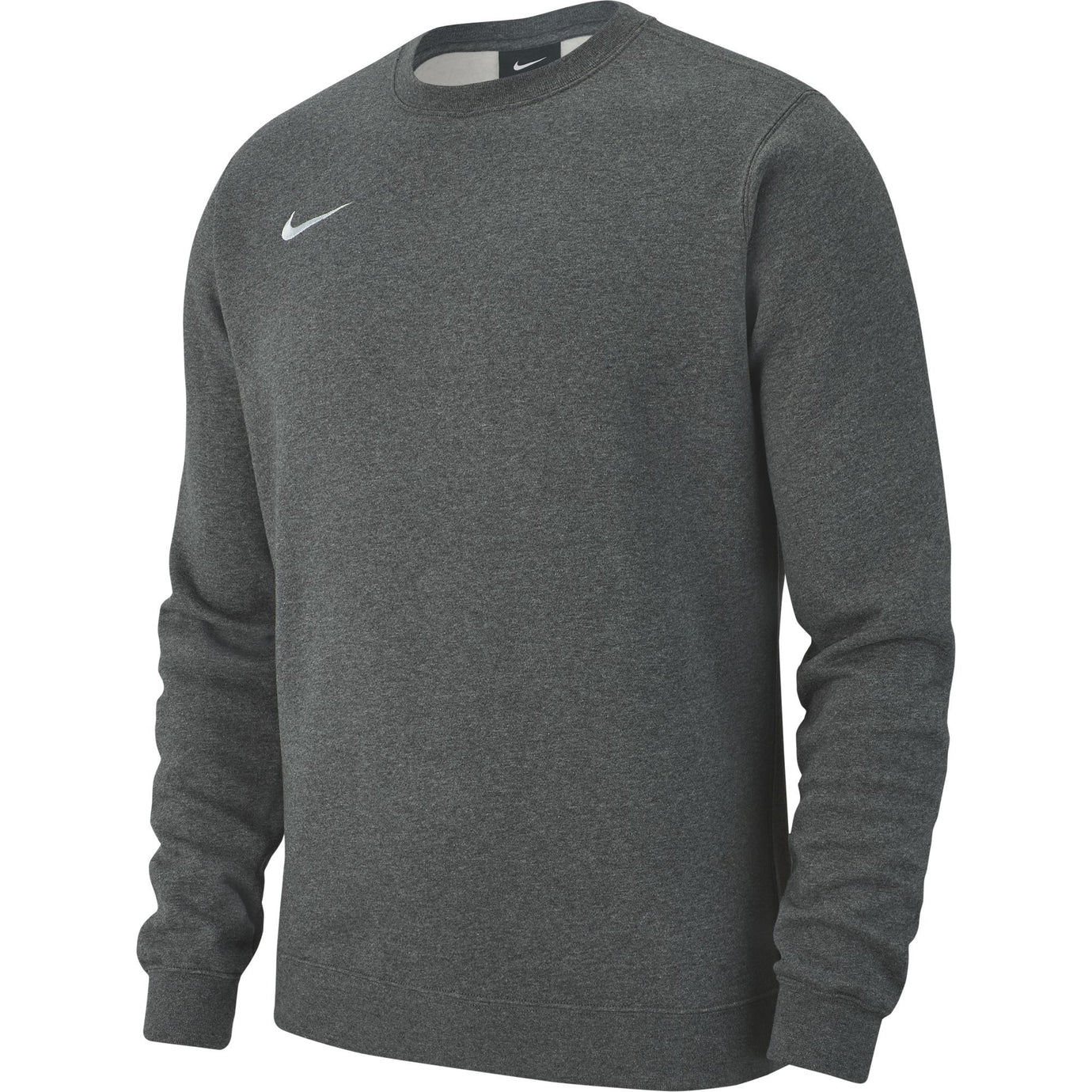 NIKE TEAM CLUB 19 CREW CHARCOAL HEATHER/WHITE