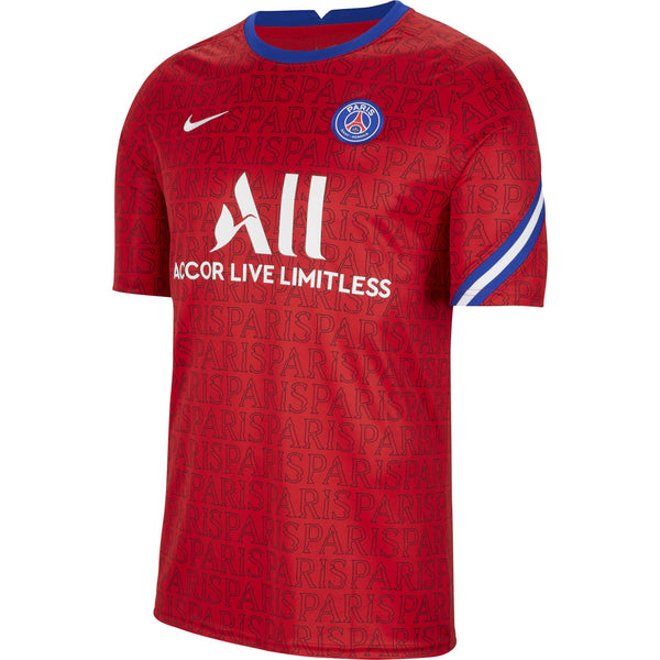 NIKE PSG 20-21 SS SOCCER TOP UNIVERSITY RED/WHITE