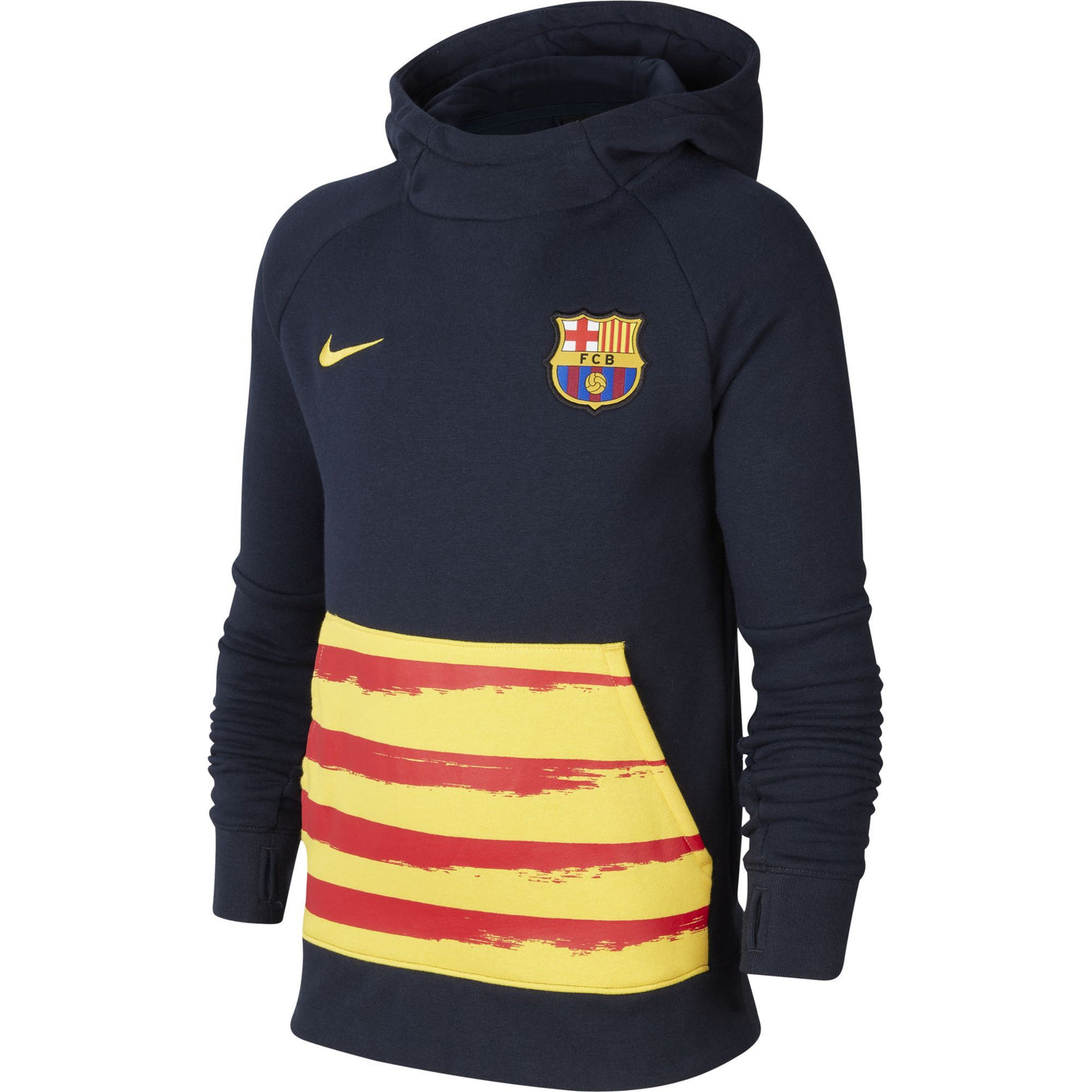 NIKE JR BARCELONA 19-20 FLEECE HOODIE OBISDIAN/VARSITY MAIZE