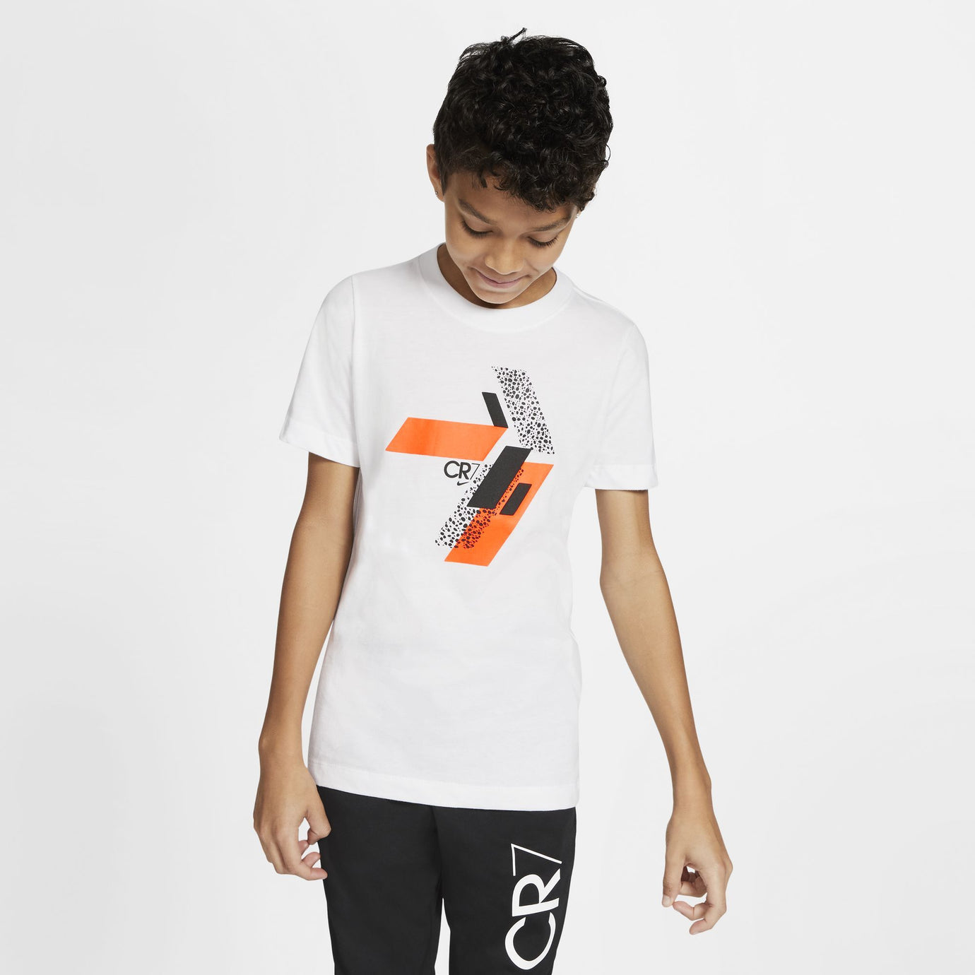 NIKE JR CR7 SAFARI TEE WHITE