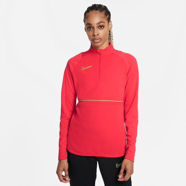NIKE WMN DRY-FIT ACADEMY21 DRILL TOP SIREN RED/GREEN STRIKE