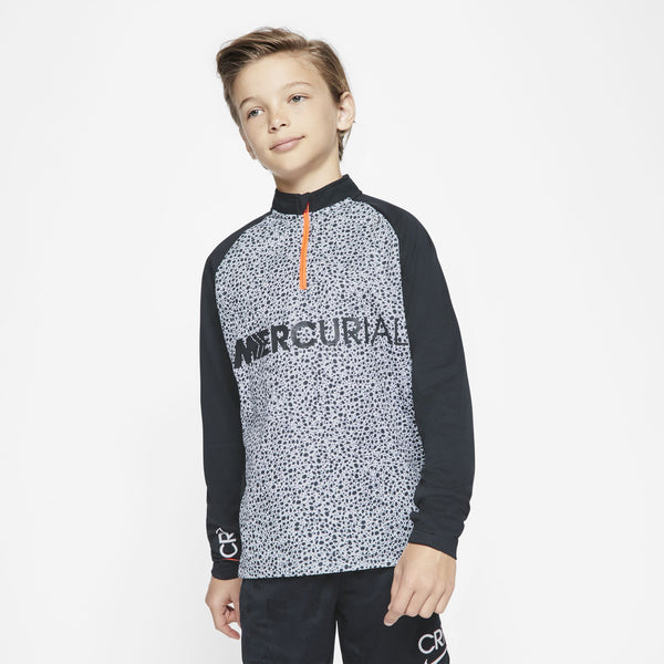 NIKE JR CR7 SAFARI DRILL TOP BLACK/WHITE/TOTAL ORANGE