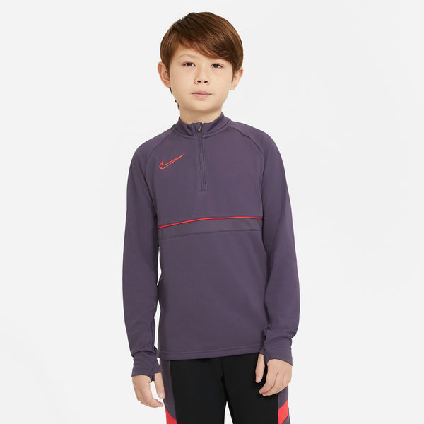 NIKE JR ACADEMY21 DRILL TOP DARK RAISIN/SIREN RED